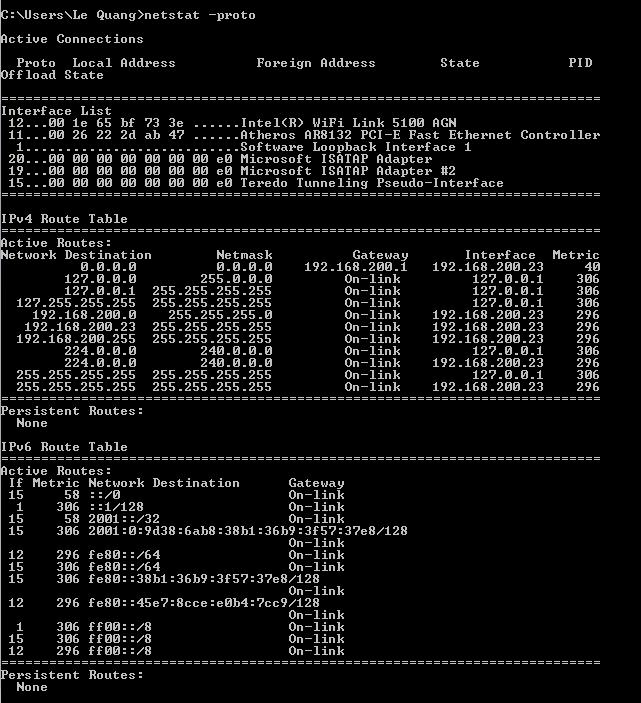 lệnh netstat -p