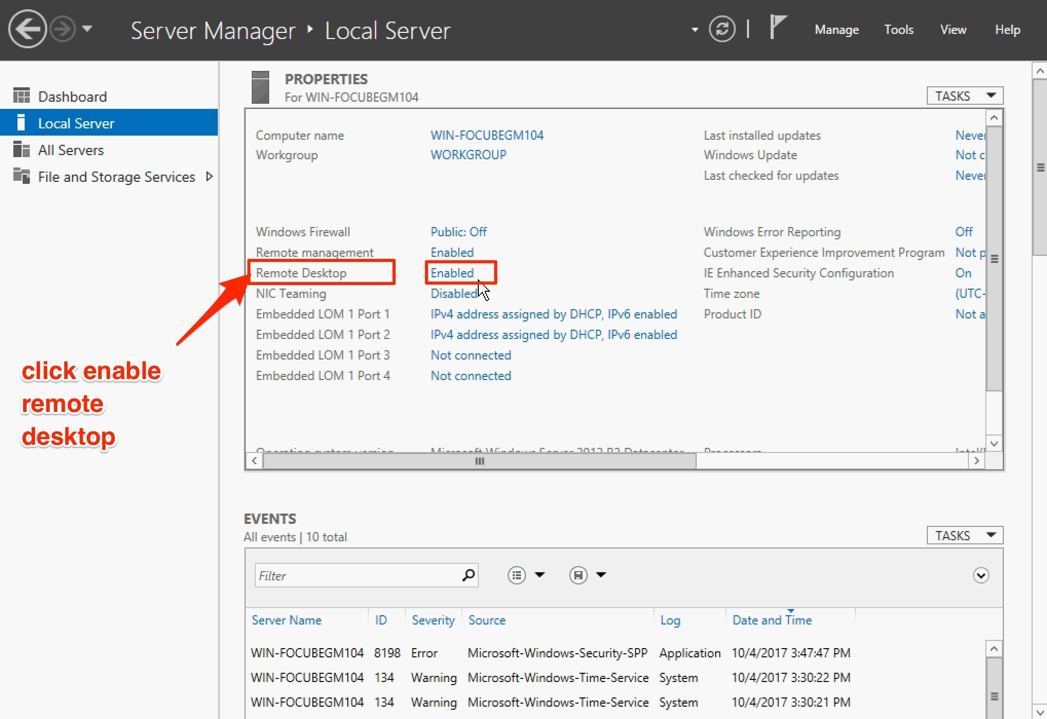 kích hoạt remote desktop windows server 2016 - local server