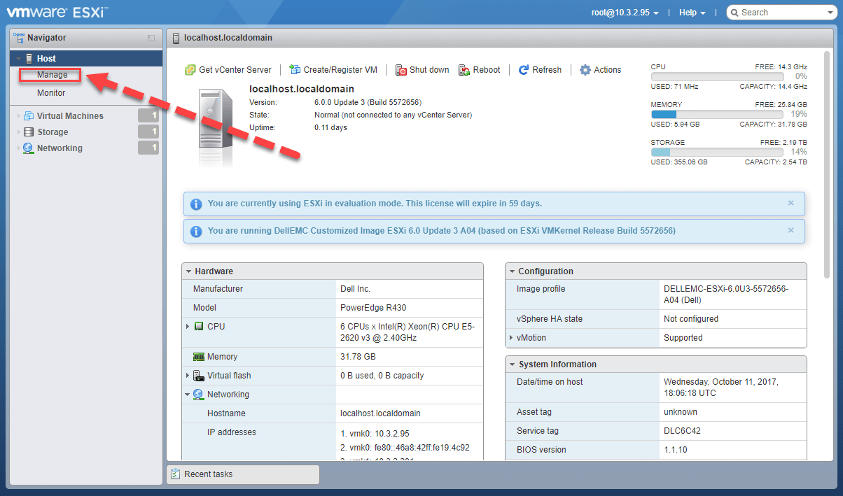 kích hoạt ssh trên esxi với vsphere webui client - 1