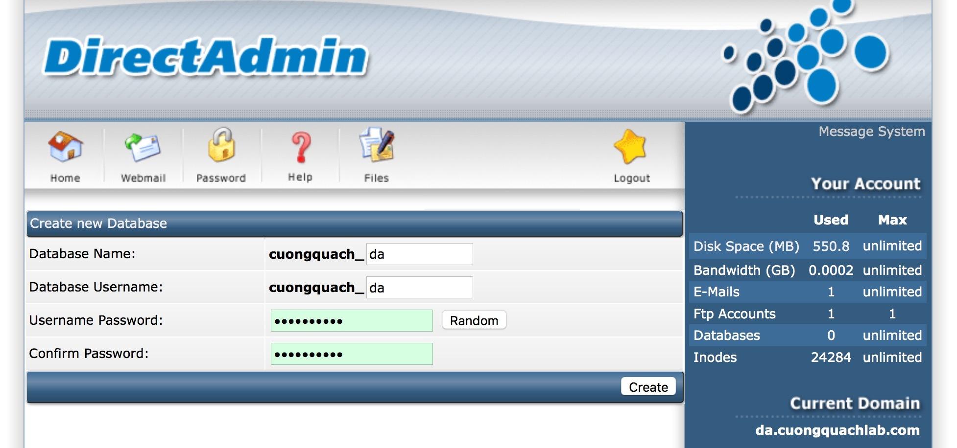 tạo database trên direct admin - 3