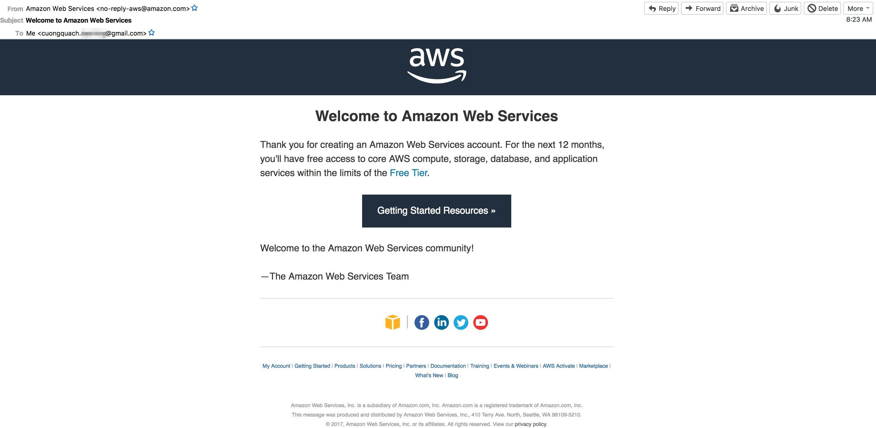aws gửi mail xác nhận đăng ký amazon free tier thành công.