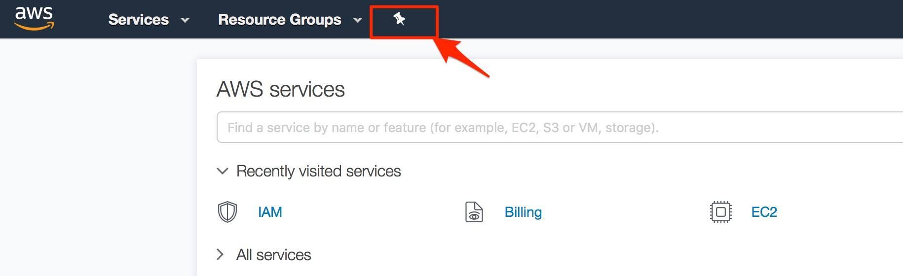awsmc - thêm shortcut truy cập dịch vụ aws 1