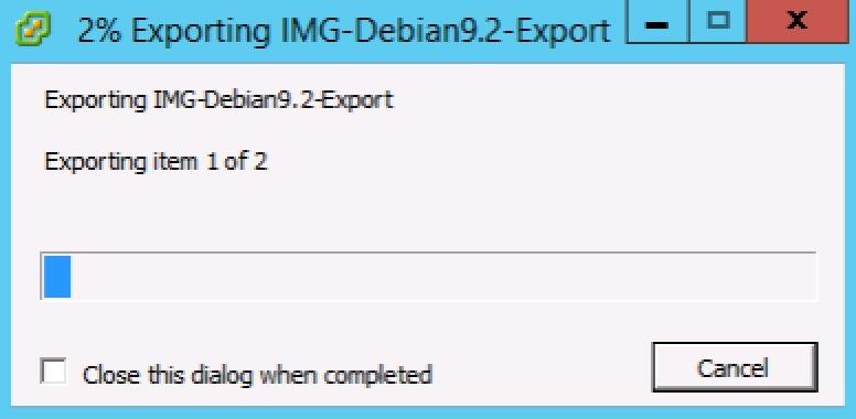 quá trình export vm diễn ra