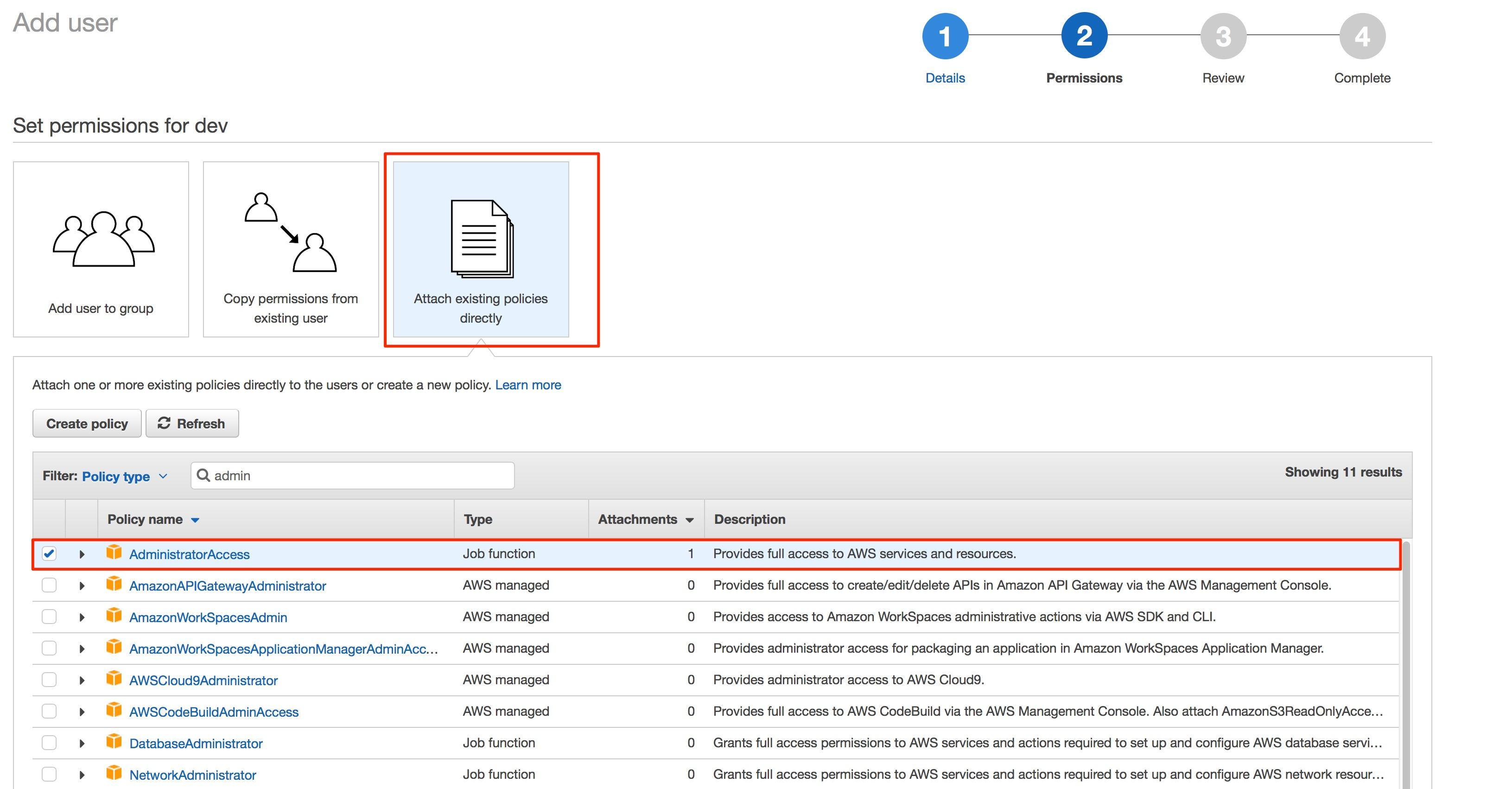 tạo tài khoản iam user programmatic access bước 2