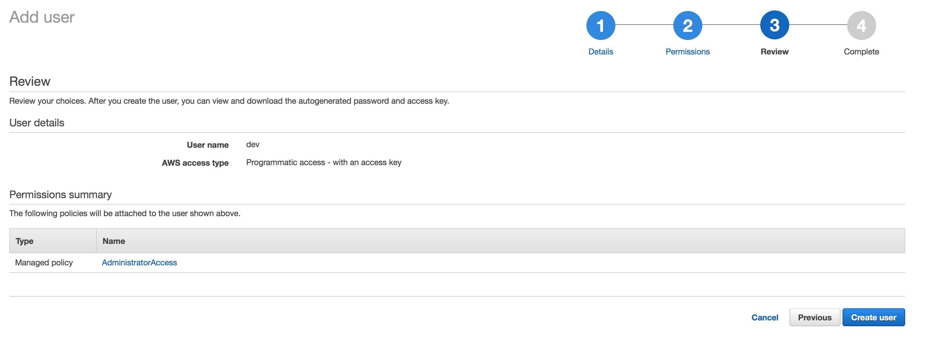 tạo tài khoản iam user programmatic access bước 3