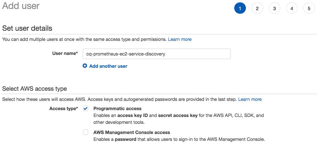 iam user service discovery prometheus